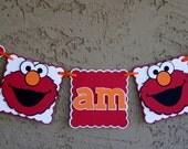 "Elmo ""I am 1"" Birthday Banner - Highchair Banner, I am1, Photo Prop, Birthday sign. Red, Orange and White."
