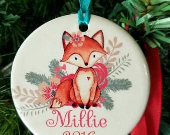 Girls ornament, fox ornament, deer ornament,  Christmas ornament, personalized ornament, custom ornament