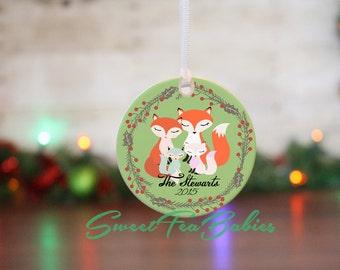 Family ornament, family Christmas ornament, Fox family ornament, keepsake ornament, custom ornament, Family gift