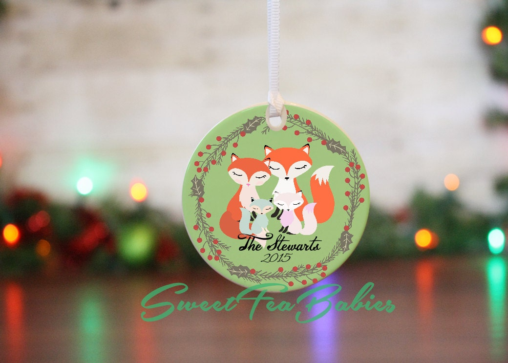 Family ornament family christmas ornament fox family for Family christmas ornaments to make