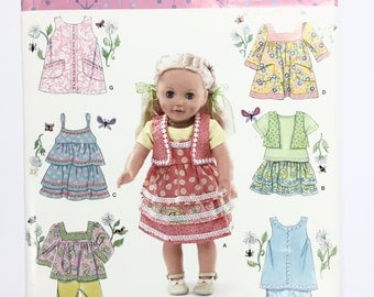 "UNCUT Simplicity 0370 18"" Doll Clothes Sewing Pattern Top Vest Camisole Skirt Jumper Pants"
