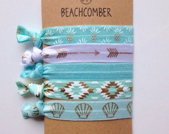 hair ties, beach bracelets, party favour, mermaid bracelets, beachy jewelry, hair accessory, friendship bracelets