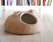 Small dog bed - wool dog bed - pet cave - tan dog bed - made to order