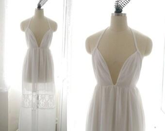 Boho Bohemian Gypsy Downton Abbey Deep V Neckline Halter White Chiffon Lace Maxi Dress Long Romantic Angel