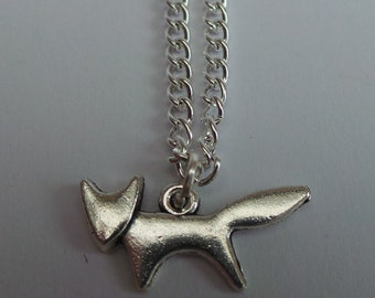 Fox Necklace, Silver Plated Fox Charm Necklace with 18 inch silver plated chain - gift carded - earrings also available