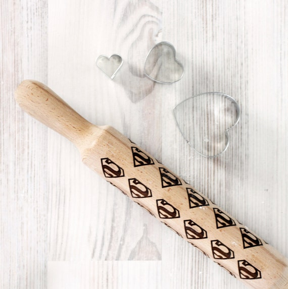 Comic Superhero Engraved rolling-pin - Superman pattern - Embossed Rolling Pin