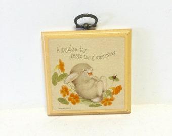 Vintage wood plaque, wood plaque, plaque, wall art, bunny plaque