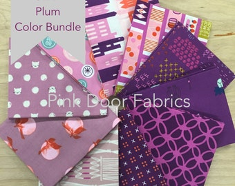 Cotton + Steel - Limited Edition Cotton + Steel Plum Color Half Yard Bundle (CSPLUMHY) - 10 prints