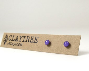 VIOLET Stud Earrings - Bright Purple Simple Studs -Hypoallergenic - Surgical Steel - Tiny Post Earrings - 3mm Circle - Cute Earrings - Resin