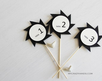 5 wedding table numbers . stick table number . black table numbers . origami table numbers . pinwheel ninja stars . table sign # 1-5