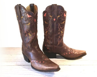 Vintage Cowboy Boots, Double H Sonora, Brown Leather with Star Inlays, Cut-outs, Women size 8.5 M
