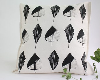 Modern throw pillow covers hand printed on ecru cotton with leaves in black and red - Designer cushion covers artisan silkscreen printing