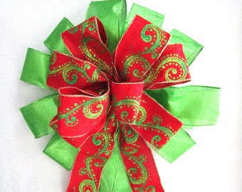 Red and Green Bow, Red Bow, Christmas Bow, Tree Topper Bow, Wreath Bow