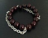 Chain Oxblood Stone Stretch Bracelet