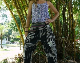 Thai Tribe pants, Cotton, Hmong Hill Tribe Style--Black, White, Grey