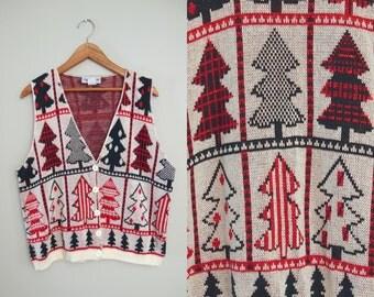 Vintage Metallic Christmas Tree Sweater Vest