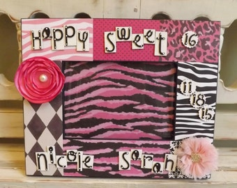 Sweet 16 Girl Personalized 5x7 Picture Frame Pink Black Flowers Jewels Animal Zebra Teen Gift