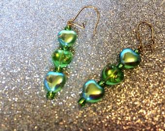 Earrings Green Aurora Borealis Love Heart Glass Dropper-Green Glass Heart Earrings-Ladies Gift-Dropper Earrings-Handmade Earrings-Hearts