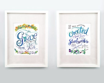Ephesians 2 Set of Two 8x10s - Art print of watercolor typography of Grace