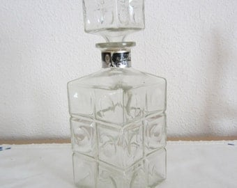 Clear Glass Decanter with Glass Block Design Ezra Brooks Bourbon Whiskey Decanter Vintage Barware