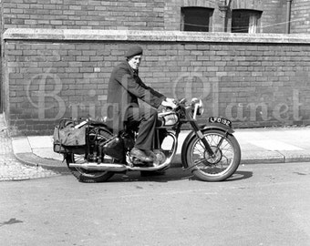 4 x Digital Photograph Stock Image - Man On A Motorcycle / Motorbike - Black & white, Sepia,Old Image