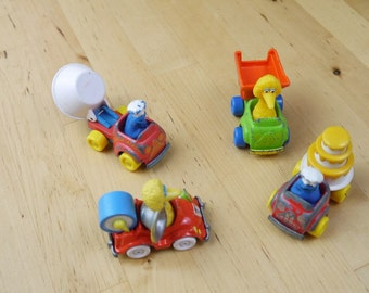 Vintage Sesame Street Metal Automobile Car Lot 1982 and 1987 Playskool