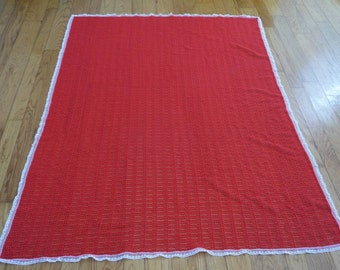 Vintage Crochet Quilt Throw Tablecloth