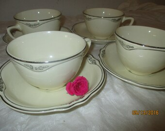 Homer Laughlin Silver Rose - Cup & Saucers - Set of 4