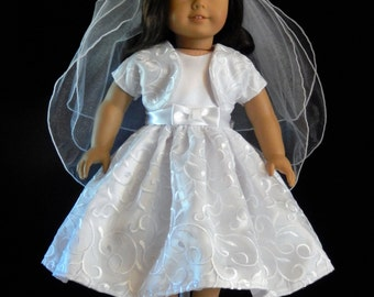 American Girl 18 Inch Embroidered Bridal Scallop First Communion Dress with Shrug 2