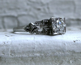 Vintage Platinum Diamond Buckle Ring Engagement Ring - 0.61ct.