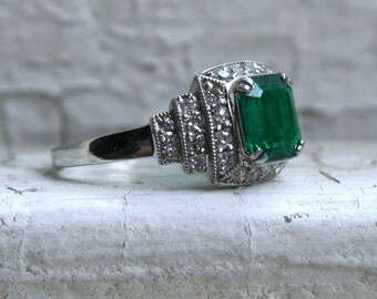 Amazing Vintage Platinum Diamond and Emerald Engagement Ring - 1.60ct.