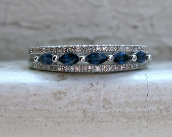 RESERVED - Sparkly Vintage Three Row Diamond and Sapphire 14K White Gold Wedding Band Ring - 0.87ct.