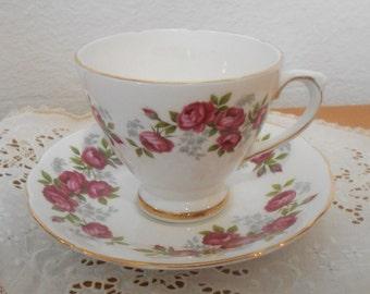 Vintage English Bone China Teacup and Saucer, Royal Sutherland China Tea Cup and Saucer with Roses