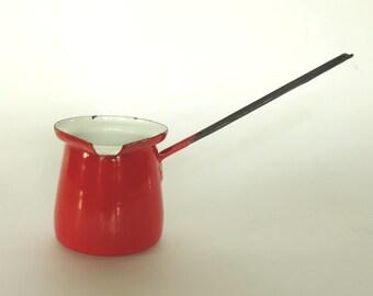Enamel Turkish Coffee Pot Vintage Red Dipper Ladle Butter Warmer