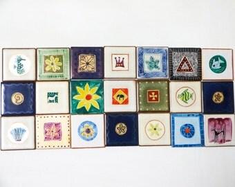 Destash 21pc Handpainted Tiles for craft