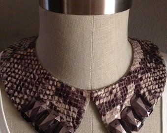 Jeweled Shades of Grey Python Pointed Collar Necklace With Jewelry Back Closure