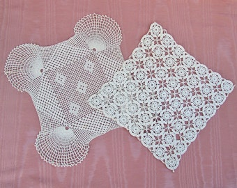 Vintage square lace doilies, lot of 2 crocheted doilies
