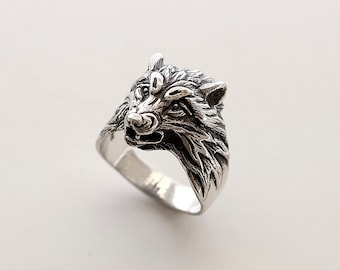 Wolf head sterling silver ring 925