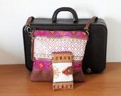 NEW crossbody bag or clutch and passport holder set, detachable shoulder strap, tribal kilim design, leather tassel. Pink gold Ready to ship