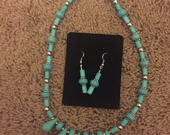 Turquoise (Dyed Howlite) Stone Necklace and Earrings