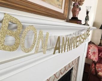 Bon Anniversaire Banner Gold or Silver Glitter Cardstock