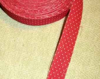 Vintage Red Poka Dot Christmas Thin Fabric Ribbon - Craft supply