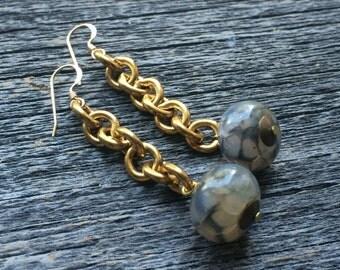 grey AGATE raw brass rollo chain earrings