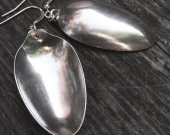 recycled small SUGAR SPOON silverware earrings