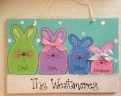BUNNY RABBIT EASTER Family Personalized Custom decor sign Spring wall hanger plaque