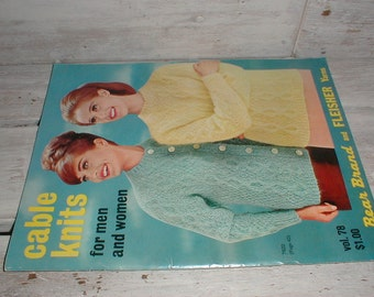 1968 Cable Knits For Men And Women Pattern Book *Cardigans*Pullovers*