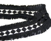 Black Knitted Crochet Fringe Trim Ribbon for Sewing Diy Crafts 2 YARDS