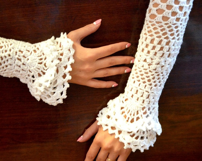 Ready to ship Wedding, special occasion, evening shimmery crochet gloves