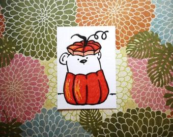 ACEO, ATC, Autumn Bear, Pumpkin, Art Trading Card, Hand Drawn, Kid Friendly, Original Ink