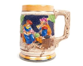 Vintage Beer Stein Mug Made in Japan Hand Painted 3D Scene Textured Barware